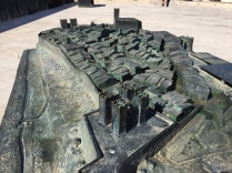 This metal model on the site of the old castle shows how the old walled town of La Vila might have looked
