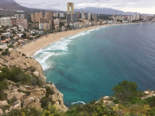 Benidorm skyline from Tossal de la Cala. The M-shaped Intempo building - the highest residential tower in Spain - is clearly visible.