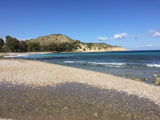 The pleasant shingle beach of Playa de Torres.