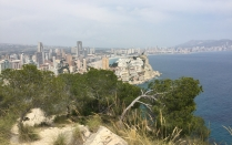 Benidorm skyline. The first glimpse of Cala de Finestrat and the towers of Benidorm beyond.