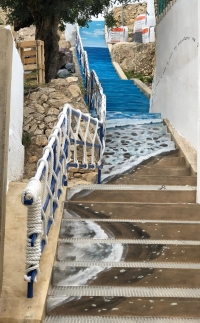 The stairways down to the beach were brightly painted in spring 2019.Here's hoping the graffiti artists stay away.