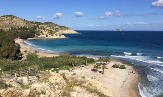 Looking down onto Playa de Torres from the cliff path.
