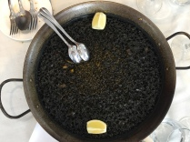 Arroz negra (black rice) is cooked in squid ink, which gives it the black colour and a distinctive taste
