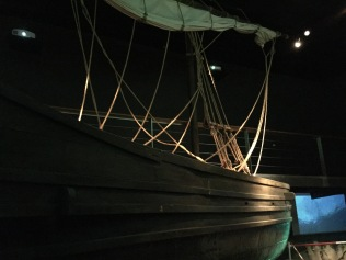 A lifelike model of a Roman ship, housed in the central gallery