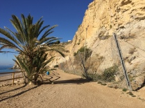 Wire ropes and nets to keep the cliff where it belongs. Playa Bol Nou.