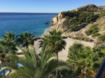 View from the Hotel Montiboli terrace down to the beach at La Caleta. The restaurant is open to non-residents