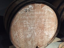 It's traditional to sign the barrel with chalk after a sip. This barrel is from 1959.