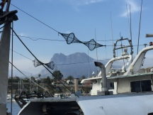 The Puig Campana mountain seen from the fish quay, La Vila