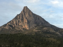The south-western flank of Puig Campana; the characteristic gap in the summit can't be seen from this side.