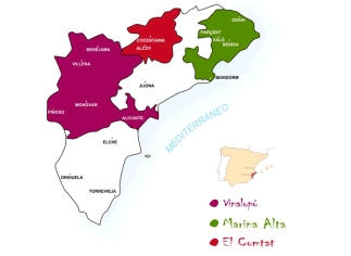Alicante wine region, showing the two main areas (Marina Alta and Vinalopó) and the smaller El Comtat.