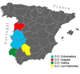 Jamón ibérico comes only from these areas, protected by a DO (Denominación de Origen), in west and south-west Spain