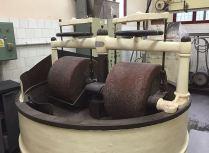 A mechanical cacao mill on the Pérez factory tour