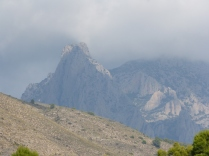 Puig Campana shrouded in cloud from the road to Orxeta