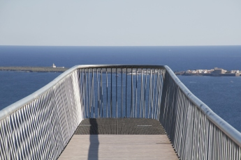 The island of Tabarca clearly visible from the Skywalk, Cabo de Santa Pola