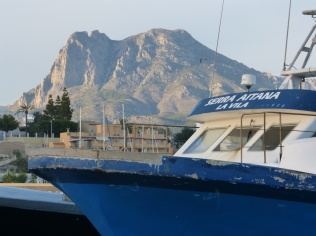 Puig Campana, the mountain that dominates La Vila's skyline, taken from the fish quay