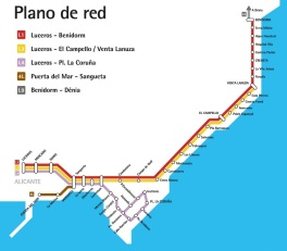Take line L1 out of Alicante along the coast to Benidorm. The main stop in Villajoyosa is Creuta, right in the middle of the town.