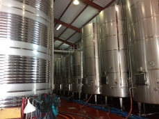 Fermentation tanks in the Bocopa winery. The tanks on the right are essentially giant pressure vesses for making sparkling wine; the gas produced by the fermentation process is absorbed into the wine, making it naturally sparkling.