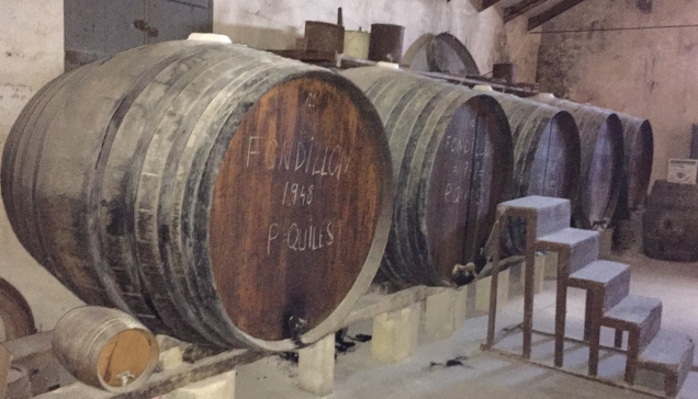 The huge oak toneles of the fondillón solera in the Primitivo Quiles cellars.