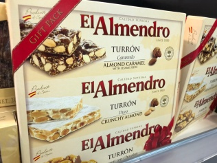 Turrón, the almond Christmas treat typical of Alicante, but eaten all over Spain. This brand is from the little town of Xixona, famed for its turrón production