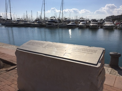 The Stanbrook memorial on the quayside of Alicante marina. Today, the floating gin palaces of the rich are moored here. Back in March 1939, it was a very different story.