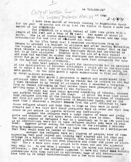 Stanbrook letter April 2 1939