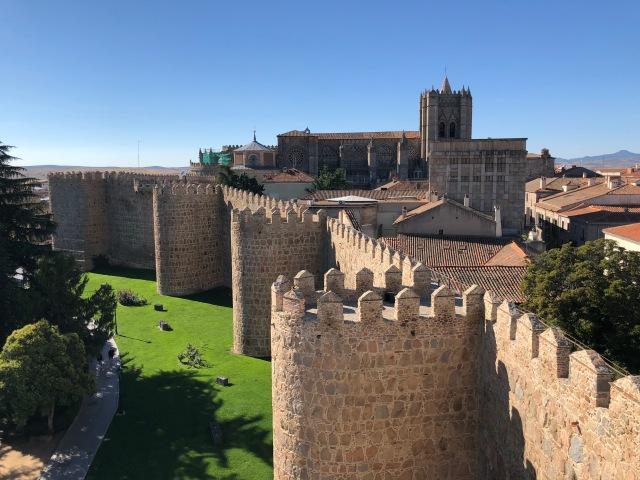 Avila city walls and cathedral